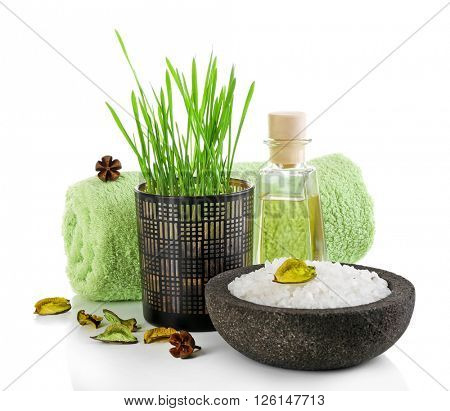 Spa treatment with sea salt and isolated on white.
