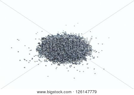 Dried poppy seeds, on white background