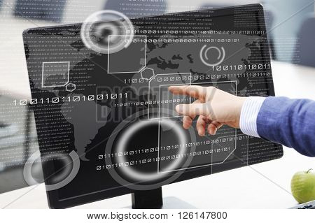 Business person working with modern virtual technology in the office