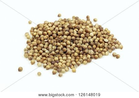 Dried coriander seeds in a pile, on white background.
