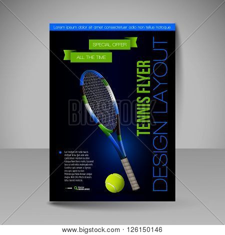 Flyer template. Vector sport elements for design. Tennis symbols