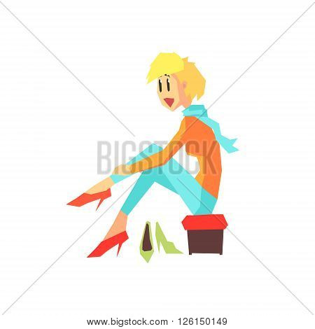 Woman Trying Shoes Flat Isolated Vector Illustration in Cartoon Geometric Style On White Background