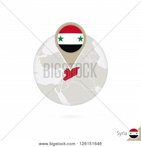 Syria Map And Flag In Circle. Map Of Syria, Syria Flag Pin. Map Of Syria In The Style Of The Globe.
