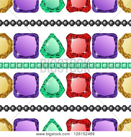Diamonds seamless pattern. Vector illustration jewerly. Abstract diamond vector background. Jem seamless pattern. Ruby sapphire and emerald. Seamless background, brilliant jewels. Wealth concept