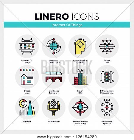 Line icons set of internet of things technology infrastructure. Modern color flat design linear pictogram collection. Outline vector concept of mono stroke symbol pack. Premium quality web graphics material.