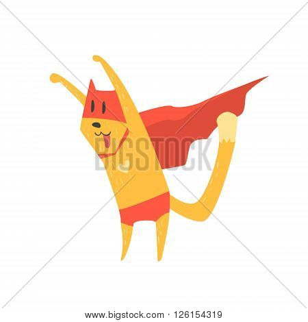 Super Hero Cat Attacking Flat Geometrical Design Cool  Vector Icon On White Background