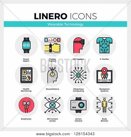 Line icons set of wearable technology internet of things. Modern color flat design linear pictogram collection. Outline vector concept of mono stroke symbol pack. Premium quality web graphics material.