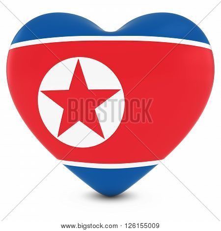 Love North Korea Concept Image - Heart Textured With North Korean Flag