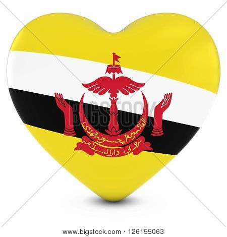 Love Brunei Concept Image - Heart Textured With Bruneian Flag