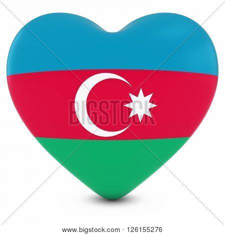Love Azerbaijan Concept Image - Heart Textured With Azerbaijani Flag