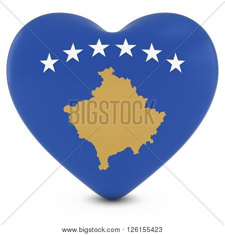 Love Kosovo Concept Image - Heart Textured With Kosovan Flag