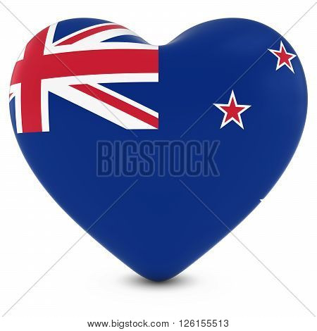 Love New Zealand Concept Image - Heart Textured With New Zealand Flag