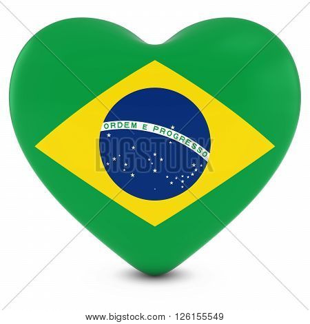 Love Brazil Concept Image - Heart Textured With Brazilian Flag