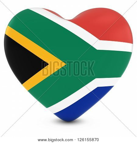 Love South Africa Concept Image - Heart Textured With South African Flag