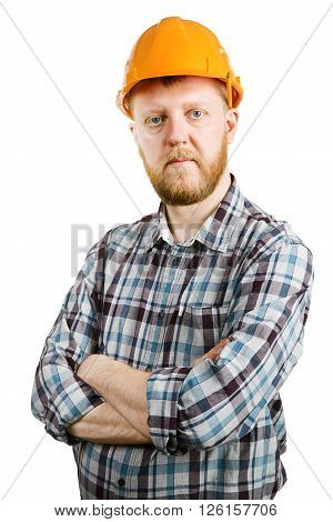 Construction worker in orange helmet and plaid shirt