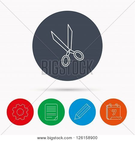 Tailor scissors icon. Hairdressing sign. Grooming symbol. Calendar, cogwheel, document file and pencil icons. poster