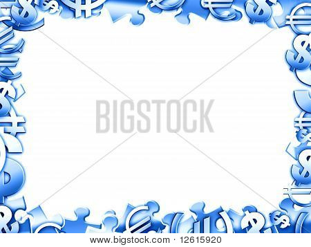 Money Blue Concept Illustartion Border Frame Isolated On White