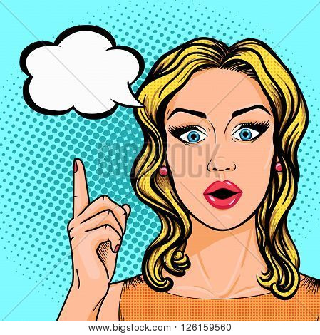 Vector Pop art business woman pointing up on thought cloud in retro comic sketch style. Stunned woman face with open mouth - idea or solution of problem concept.