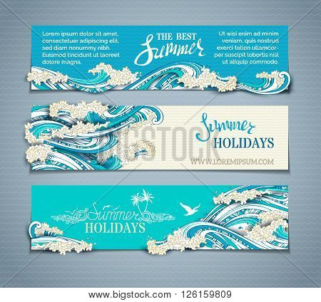 Vector Set Of Sea/ocean Horizontal Banners.