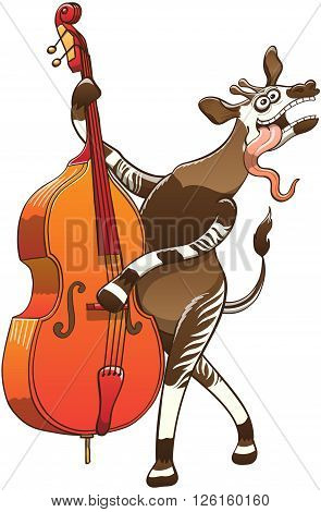 Cool okapi with big ears, antennae and striped legs while having lots of fun by sticking its long tongue out, dancing, posing and playing a double bass with great enthusiasm, talent and a funny mood