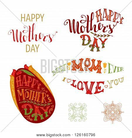 Happy Mother's Day Vector Set.