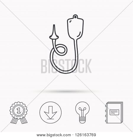 Enema icon. Medical clyster sign. Download arrow, lamp, learn book and award medal icons.