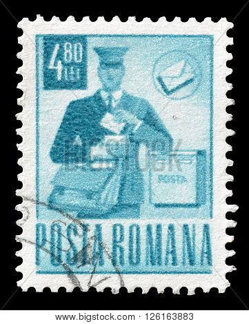 ROMANIA - CIRCA 1971 : Cancelled postage stamp printed by Romania, that shows Mailman.