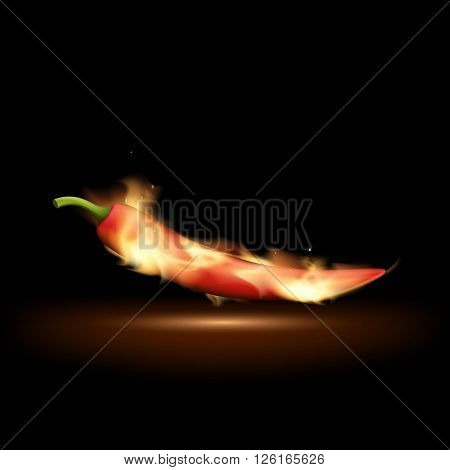 Red hot chili pepper on fire. Traditional cooking spices. Isolated on a black background. Stock vector illustration.