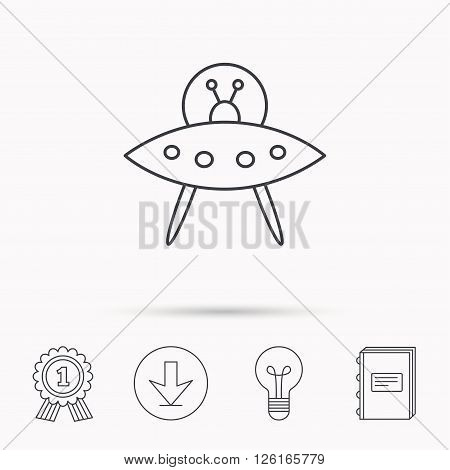 UFO icon. Unknown flying object sign. Martians symbol. Download arrow, lamp, learn book and award medal icons.