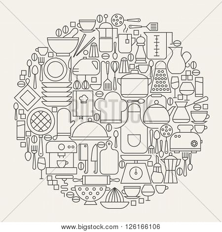 Kitchen Utensils And Cooking Line Icons Set Circle Shape