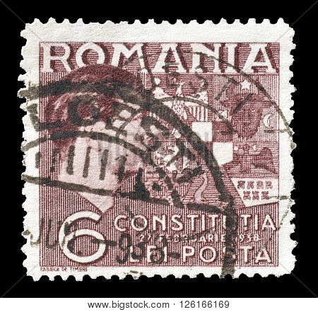 ROMANIA - CIRCA 1938 : Cancelled postage stamp printed by Romania, that shows King Carol.