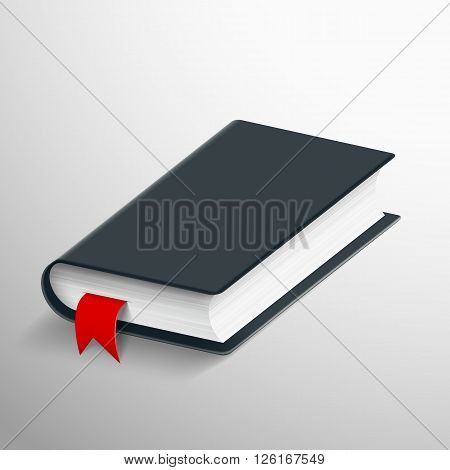 Realistic blank book with a bookmark. Stock vector illustration.