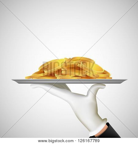 Human hand holding a tray with gold coins. Earnings and dividends. Stock vector illustration.