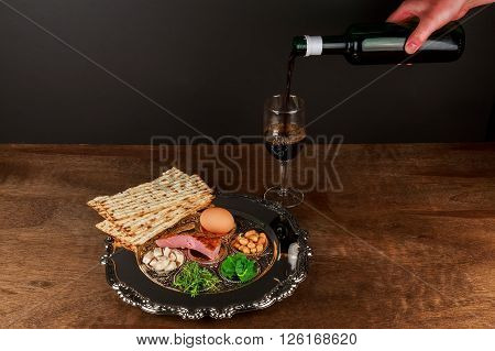 Pesach matzo passover with wine and matzoh jewish passover bread ** Note: Soft Focus at 100%, best at smaller sizes