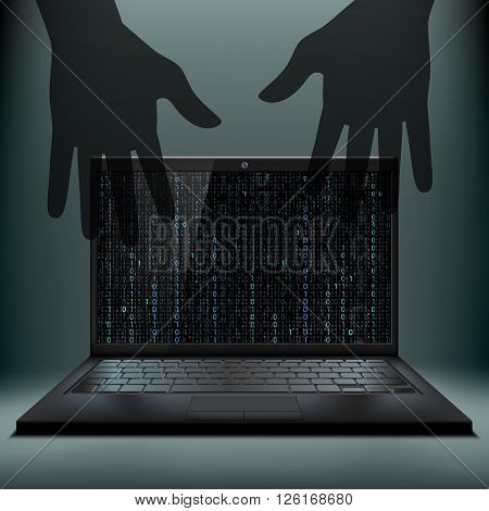 Laptop with a binary code on the screen. Cybercrime. Hacker attack. Stock vector illustration.