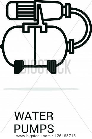 Vector icon water pumps. Spare parts and household appliances for the kitchen gas supply water supply modern home.