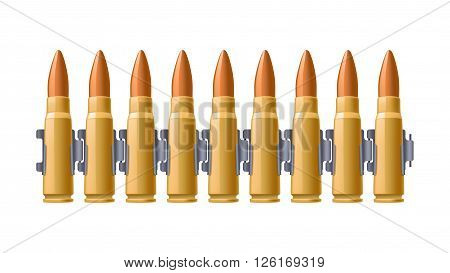 illustration of group of bullets on belt on white background