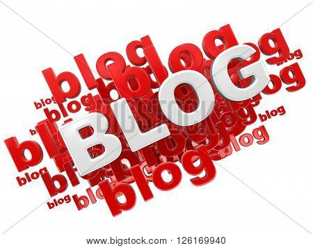Blog. Image with clipping path. Three-dimensional Shape