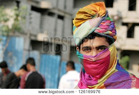 HYDERABAD,INDIA-MARCH 27:Portrait of Indian young man with turban a traditional head wear on March 27,2016 in Hyderabad,India