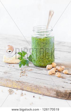 Jar With Parsley Pesto