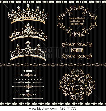 Royal design elements vintage frames dividers borders pearls and diadems in golden beige. Vector illustration. Isolated on striped black background. Can use for birthday card wedding invitation