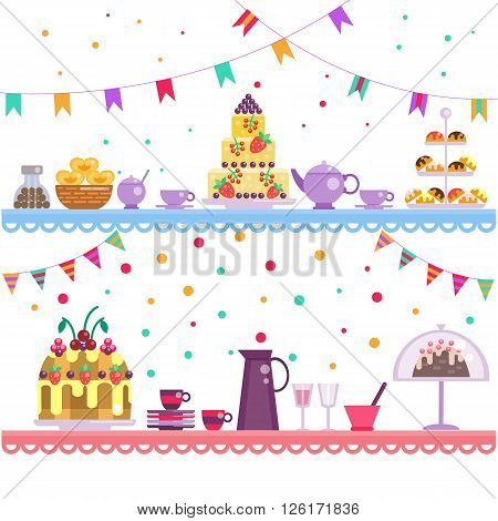 Birthday party. Cake and drinks, sweets and dessert, teapot and cups on the table. children's party. Event day. Birthday food