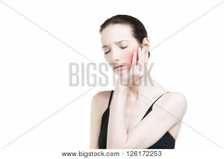 Woman with toothache. Pain in the human body isolated on white background with copy space and red dot