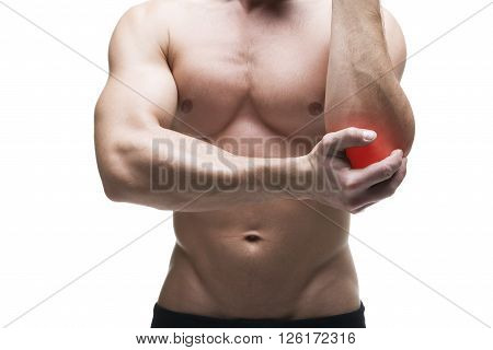 Pain in the elbow. Muscular male body. Isolated on white background with red dot poster