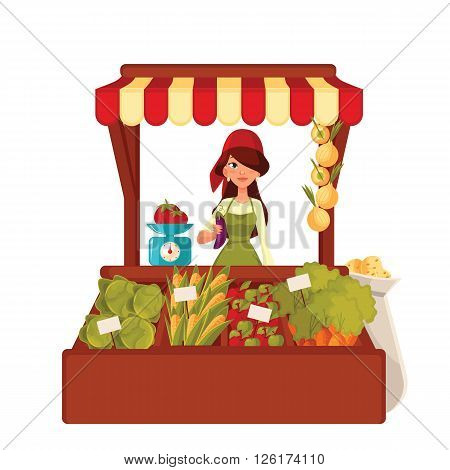 Sale of farm vegetables in the market, cartoon woman sells fresh vegetables and fruits at the market, retail sales of fresh homemade products, agricultural products poster