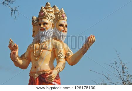 HYDERABAD,INDIA-APRIL 15:Idol of Hindu God brahma in the procession on Sri Rama Navami celebrations on April 15,2016 in Hyderabad,India.