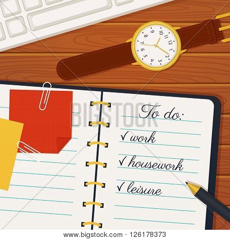 Time management banner. Efficient use of time for the implementation of the plans. Vector concept background. Top view of to do list in a notebook wristlet watch pen and keyboard on a wooden table.