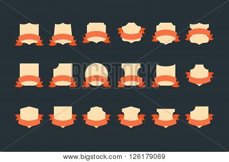 Vintage flat vector heraldic shields with ribbons. Retro style award os sale labels template.