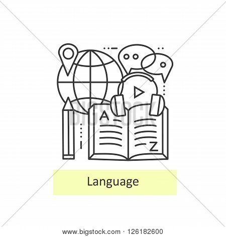Modern thin line icons of learning foreign languages, language training school. Modern concept of a collection of vectors.