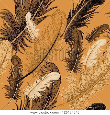 Seamless pattern of bird feathers. Decorative composition of bird feathers on a gold background. Design of natural motifs. Illustration of vector ornament bird feathers.